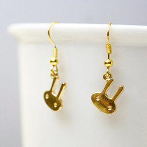 Bunny Rabbit Earrings, Gold Plated, Handmade 🌸
